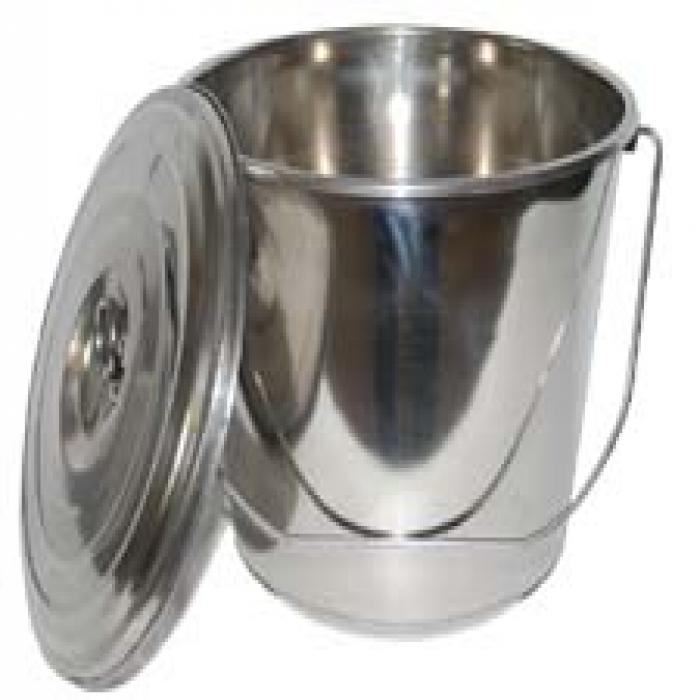 Bucket with Cover - Stainless Steel
